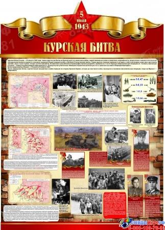 Стенд Курская битва на тему  ВОВ размер 790*1100мм без карманов