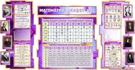 Стенд  Математика вокруг нас с формулами в кабинет Математики в сиреневых тонах 1800*995мм