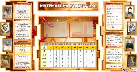 Стенд Математика вокруг нас с таблицей квадратов натуральных чисел в коричневых тонах 1800*955мм