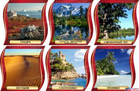 Комплект стендов Природные зоны для кабинета географии в золотисто-бордовых тонах 300*300 мм Изображение #1