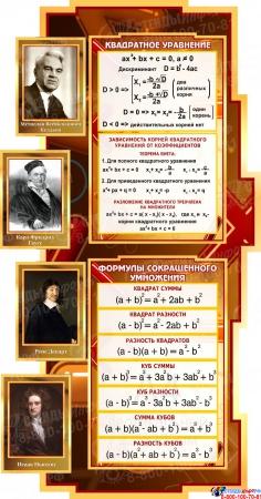 Стенд в кабинет Математики Математика вокруг нас с формулами и тригономертической таблицей в бежево-коричневых тонах 1825*955мм Изображение #1