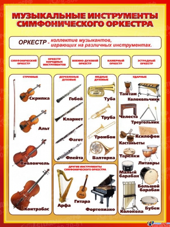 Стенд Музыкальные инструменты симфонического оркестра для кабинета музыки 850*1130мм
