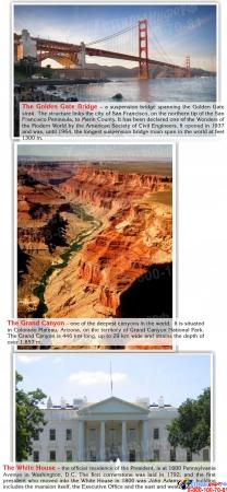 Стенд Достопримечательности США на английском языке в голубых тонах 700*850 мм Изображение #3