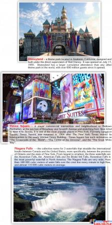 Стенд Достопримечательности США на английском языке в голубых тонах 700*850 мм Изображение #4
