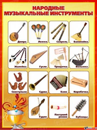Стенд Народные музыкальные инструменты для кабинета музыки 850*1130мм