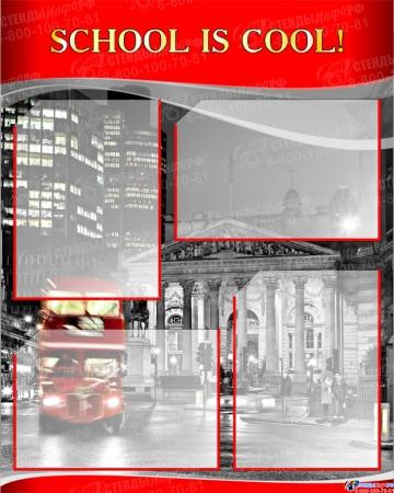 Комплект из 3-х стендов  для кабинета английского языка в красно-серых тонах в стиле Лондон 1950*750 мм Изображение #2