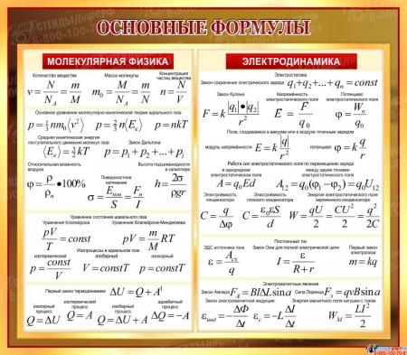 Стенд Основные формулы молеклярной физики в золотисто-бордовых тонах 800*700 мм
