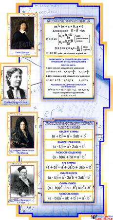 Стенд в кабинет Математики Математика вокруг нас с формулами в синих тонах на фоне тетради 2040*955мм Изображение #3