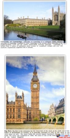 Стенд UNITED KINGDOM в золотисто-сиреневых тонах в кабинет английского языка 1000*1300 мм Изображение #1