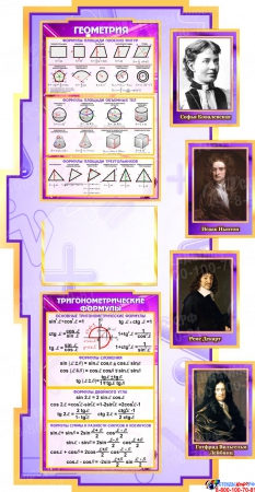 Стенд  Математика вокруг нас с формулами в кабинет Математики в сиреневых тонах с карманами А4 1800*995мм Изображение #3