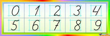 Стенд Правописание цифр в стиле Радуга 600*200 мм