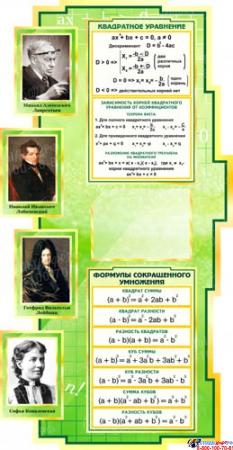 Стенд Таблица кубов натуральных чисел по Математике в зелёных тонах  1000*650мм Изображение #1