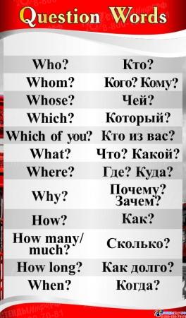 Стенд QUESTION WORDS в кабинет английского языка в красно-серых тонах 500*850 мм