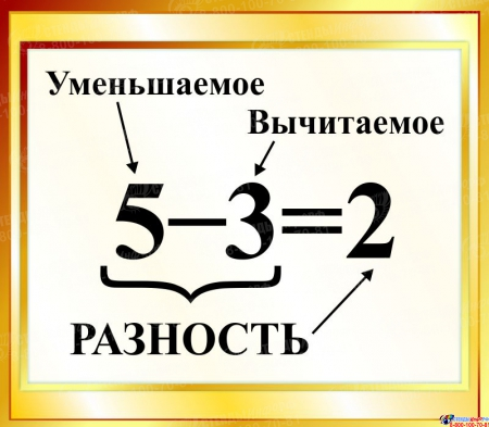 Стенд Разность  для начальной школы в золотистых тонах 400*350мм