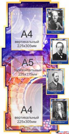 Стенд в кабинет Физики Физика вокруг нас в золотисто-синих тонах 1800*995мм Изображение #1