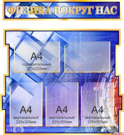 Стенд в кабинет Физики Физика вокруг нас в золотисто-синих тонах 1800*995мм Изображение #2