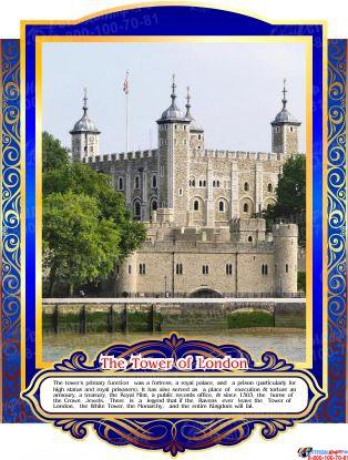 Комплект стендов Достопримечательности Великобритании для кабинета английского языка в золотисто-синих тонах  265*350 мм, 280*350 мм Изображение #6