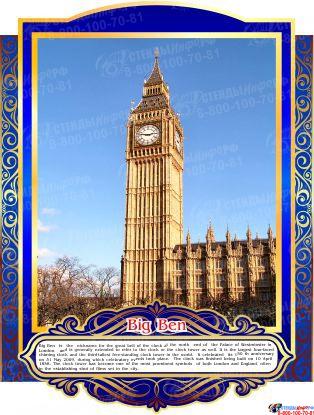 Комплект стендов Достопримечательности Великобритании для кабинета английского языка в золотисто-синих тонах  265*350 мм, 280*350 мм Изображение #8