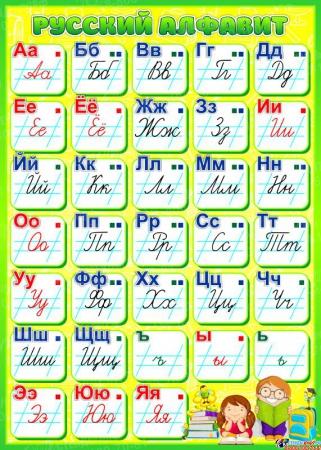 Стенд Русский алфавит для начальной школы в салатовых тонах 500*700мм
