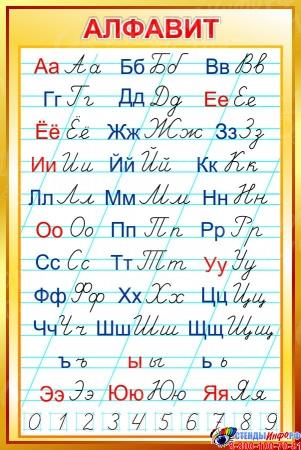 Стенд Русский алфавит прописной и строчной в золотистых тонах 670*1000 мм