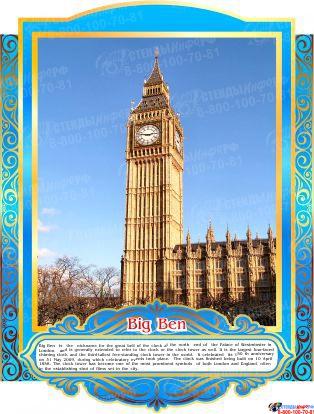 Комплект стендов Достопримечательности Великобритании в золотисто-голубых тонах 265*350 мм, 280*350 мм Изображение #7