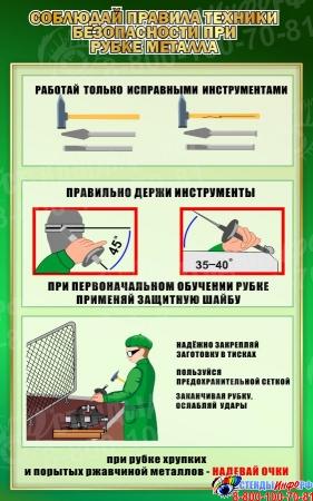 Стенд Соблюдай правила техники безопасности при рубке металла в зеленых тонах 500*800мм