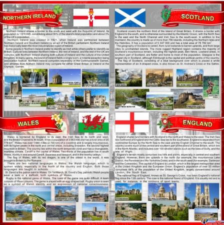 Стенд Страны Соединенного Королевства Великобритании и Северной Ирландии в красно-серых тонах 750*750 мм