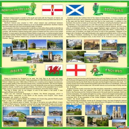 Стенд Страны Соединенного Королевства Великобритании и Северной Ирландии в зеленых тонах 750*750 мм