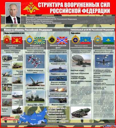 Стенд Структура вооруженных сил РФ 700*770 мм