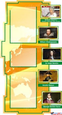 Стенд в кабинет английского языка на английском в золотисто-зелёных тонах 1800*995 мм Изображение #3