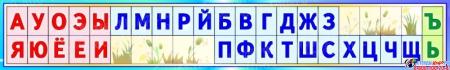Стенд таблица гласные согласные буквы для начальной школы в бирюзовых тонах 1250*200мм