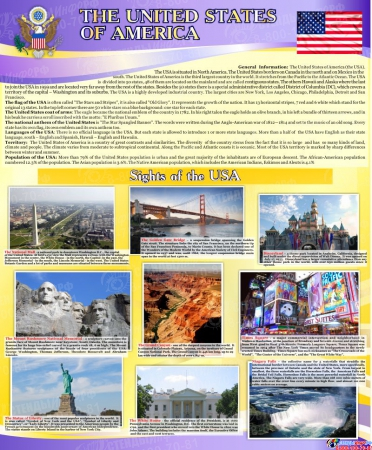Стенд The United States of America для кабинета английского языка 700*850мм