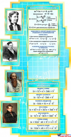 Стенд в кабинет Математики Математика вокруг нас с формулами в голубых тонах 1890*960мм Изображение #2
