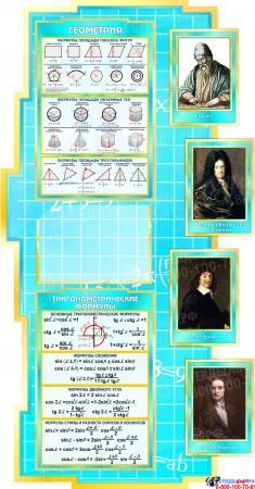 Стенд в кабинет Математики Математика вокруг нас с формулами в голубых тонах 1890*960мм Изображение #3