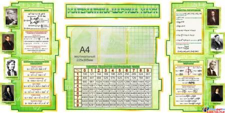 Стенд в кабинет Математика-царица наук с формулами и тригономертической таблицей в золотисто-зелёных тонах 1825*955мм