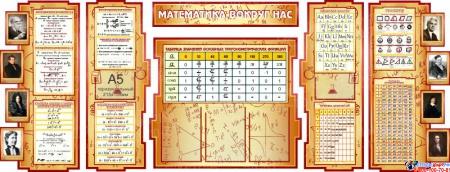 Стенд в кабинет Математики Математика вокруг нас расширенный с формулами  2506*957мм