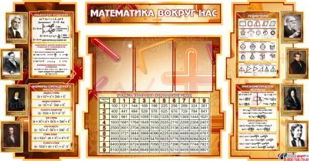Стенд в кабинет Математики Математика вокруг нас с формулами и тригономертической таблицей в бежево-коричневых тонах 1825*955мм