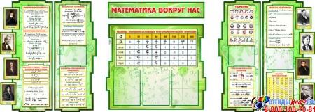 Стендовая композиция Математика вокруг нас с формулами и портретами в зелёных тонах 2506*957мм