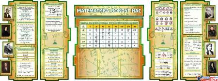 Стенд в кабинет Математики Математика вокруг нас с формулами в золотисто-зелёных тонах  2506*957мм