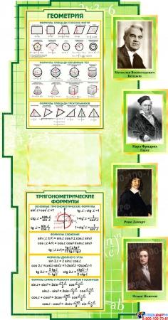 Стенд в кабинет Математики Математика вокруг нас с формулами зеленый 1800*995мм Изображение #3