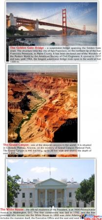 Стенд Достопримечательности США на английском языке в золотисто-зеленых тонах 700*850 мм Изображение #2
