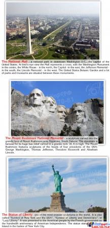Стенд Достопримечательности США на английском языке в золотисто-зеленых тонах 700*850 мм Изображение #4