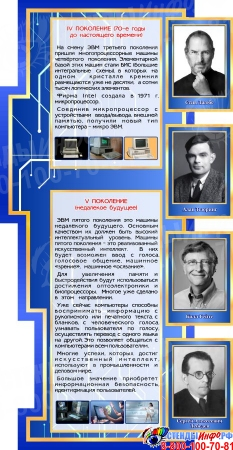 Стендовая композиция для кабинета Информатики в синих тонах 2070*1000 мм Изображение #4