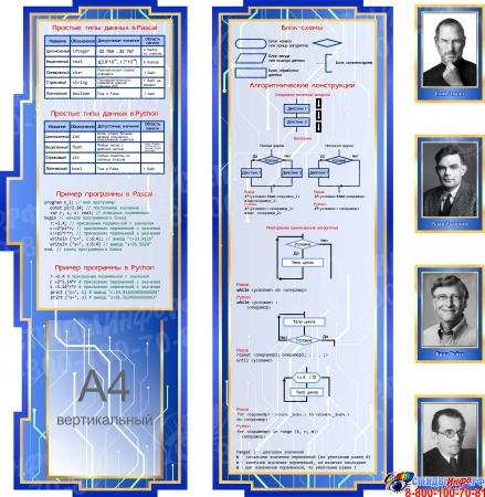 Стендовая композиция Информатика вокруг нас в синих тонах 2680*950 мм Изображение #2
