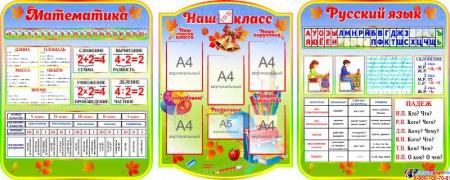 Стендовая композиция Наш класс Математика Русский язык в радужных тонах 2880*1110 мм.
