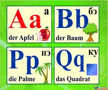 Стенд Немецкий Алфавит с картинками в зелёных тонах, с таблицей, горизонтальный 2000*250мм Изображение #1