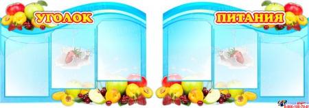 Стендовая композиция Уголок питания с фруктами в синих тонах 1550*550 мм