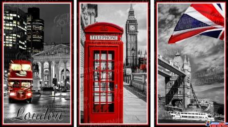 Триптих Лондон для кабинета английского языка 1170*660мм